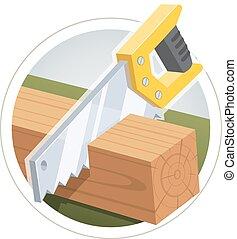 cięty, deska, drewniany, hacksaw