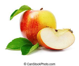 cięty, jabłko, liście, zielony, owoce, czerwony