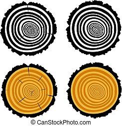 cięty, kloc, drewniany, dzwoni, drzewo, wektor, koncentryczny