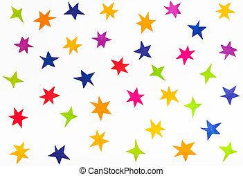 cięty, kolor, górny, papier, różny, gwiazdy, prospekt, poza
