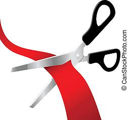 cięty, otwarcie, czerwony, wielki, nożyce, wstążka