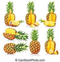 cięty, owoce, komplet, świeży, ananas