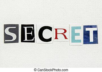 cięty, słowo, tajemnica, papier, gazeta, biały