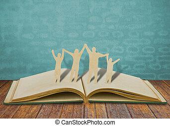 cięty, stary, rodzina, symbol, papier, książka