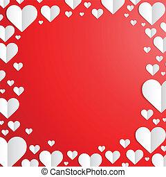 cięty, ułożyć, list miłosny, papier, serca, dzień