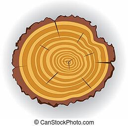 cięty, wektor, drewniany