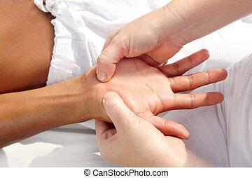 ciśnienie, cyfrowy, tuina, refleksologia, terapia, siła robocza, masaż