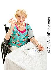 ciśnienie, krew, jej, senior, niepełnosprawny, hydromonitory