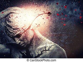 ciało, duchowna sztuka, krwawy, płacz, konceptualny, człowiek