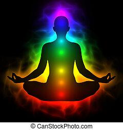 ciało, energia, ludzki, chakra, aura, rozmyślanie
