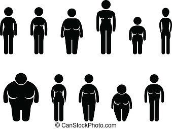 ciało, kobieta, rozmiar, figura, ikona