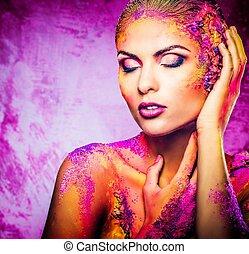 ciało kobiety, młody, sztuka, konceptualny, barwny, piękny