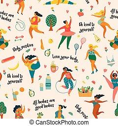 ciało, lifestyle., positive., dziewczyny, plus, czynny, rozmiar, szczęśliwy