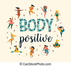 ciało, lifestyle., positive., zdrowy, dziewczyny, plus, czynny, rozmiar, szczęśliwy