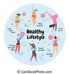 ciało, lifestyle., zdrowy, dziewczyny, przeważać, dodatni