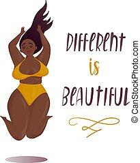 ciało, pojęcie, dodatni, skokowy, plus, dziewczyna, rozmiar, szczęśliwy