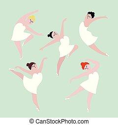 ciało, pojęcie, illustration., taniec, dodatni, set., dziewczyny, wektor, plus, rozmiar, szczęśliwy