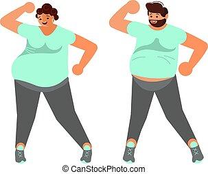 ciało, positive., taniec, żona, plus, rozmiar, mąż, szczęśliwy