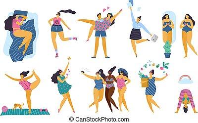 ciało, szczęśliwy, styl życia, zdrowy, dodatni, dziewczyny, ilustracja, sport, wektor, plus, pociągający, yoga, miłość, woman., fun., rozmiar