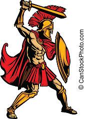 ciało, tarcza, spartan, ilustracja, wektor, miecz, maskotka