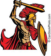 ciało, trojański, s, miecz, maskotka