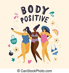 ciało, women., dodatni, dziewczyny, selfie., ilustracja, swimsuits, wektor, plus, pociągający, ubrany, zrobienie, szczęśliwy, rozmiar