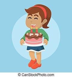 ciastko, dziewczyna, utrzymywać, afrykanin, czekolada