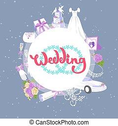 ciastko, przybory, fason, wektor, illustration., wóz, wesele, koło, dar, bukiety, strój, ślub, chorągiew