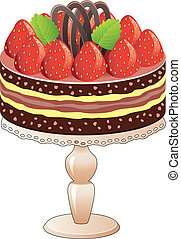 ciastko, truskawka, wektor, stać, czekolada