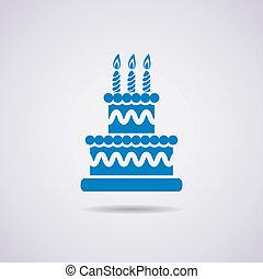 ciastko, urodziny, ikona, wektor, cielna
