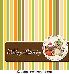 ciastko, urodziny, powitanie karta