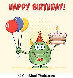 ciastko, urodziny, zielony potwór, dzierżawa