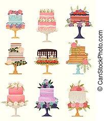 ciasto, różny, ilustracja, tło., wektor, zbiór, stand., biały, typy
