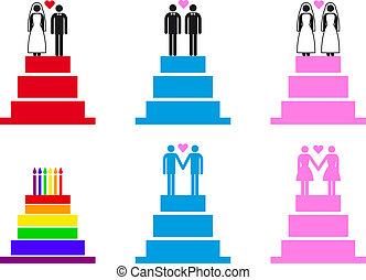 ciasto, wektor, pary, ślub