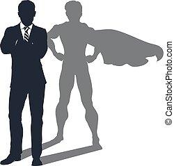 cień, biznesmen, superhero