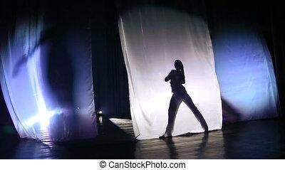 cień, dziewczyny, sylwetka, stage., taniec