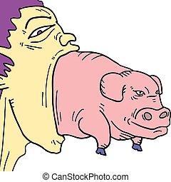 cielna, boca, świnia