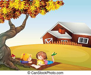 cielna, dzieciaki, drzewo, czytanie, pod