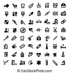 cielna, medyczny, komplet, ikony
