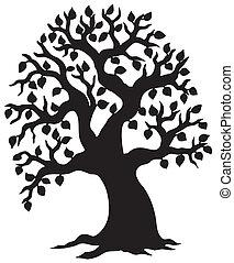 cielna, pokryty obficie liśćmi, sylwetka, drzewo