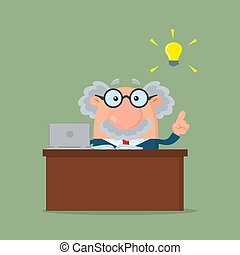 cielna, profesor, litera, idea, albo, za, naukowiec, biurko, rysunek