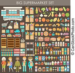 cielna, set., wektor, supermarket