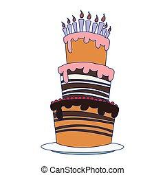 cielna, urodziny, ikona, ciastko