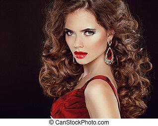 ciemny, brunetka, piękno, stare., lips., odizolowany, długi, luksusowy, włosy, falisty, tło, sexy, dziewczyna, wzór, czerwony