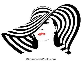 ciemny, cielna, -, włosy, wektor, dziewczyna, kapelusz, pasiasty