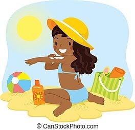 ciemny, dziewczyna, obielany, kładzenie, sunscreen