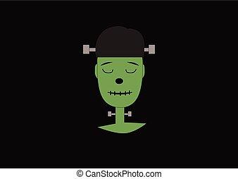 ciemny, frankenstein, zielony potwór, tło