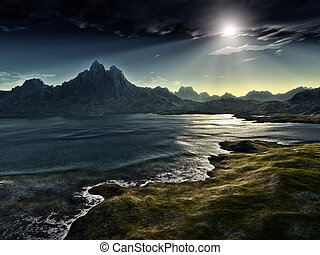 ciemny, kaprys, krajobraz