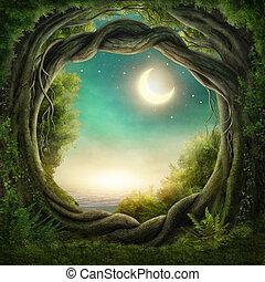 ciemny, oczarowany, las
