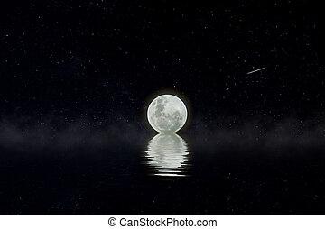 ciemny, pełny, night., księżyc